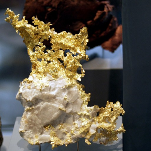 """Naturkundemuseum Berlin - Gediegen Gold in Quarz, Eagles Nest Mine, Placer County, Kalifornien, USA"" by © Raimond Spekking / CC BY-SA 4.0 (via Wikimedia Commons). Licensed under CC BY-SA 4.0 via Wikimedia Commons - https://commons.wikimedia.org/wiki/File:Naturkundemuseum_Berlin_-_Gediegen_Gold_in_Quarz,_Eagles_Nest_Mine,_Placer_County,_Kalifornien,_USA.jpg#/media/File:Naturkundemuseum_Berlin_-_Gediegen_Gold_in_Quarz,_Eagles_Nest_Mine,_Placer_County,_Kalifornien,_USA.jpg"